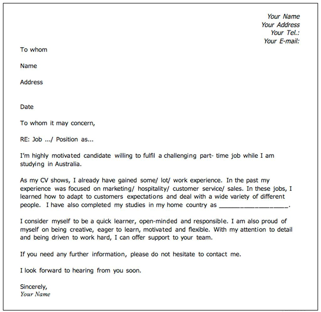 example covering letter for job application